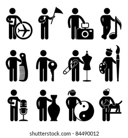 Tour Agent Guide Photographer Musician Barber Locksmith Tailor Painter DJ Martial Art Guru Veterinarian Animal Doctor Job Occupation Sign Pictogram Symbol Icon