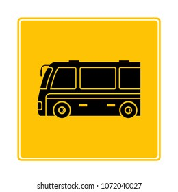 tour bus icon in yellow background