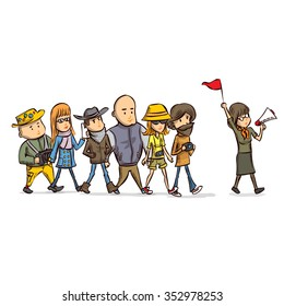 Tour guide with group of turists. Hand drawn cartoon vector illustration
