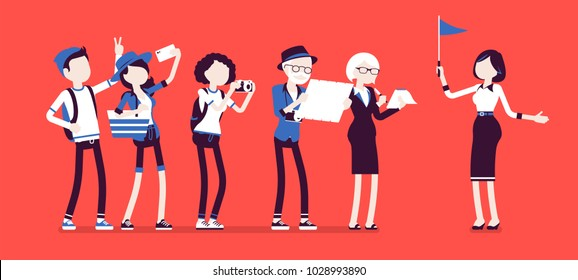 Tour guide lady and group of tourists. Female showing people places of interest, explains details about city or country they visit. Vector illustration with faceless characters