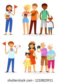 Tour guide vector man and woman characters guiding sightseeing group of tourists on vacation illustration set of travelling people family with kids elderly isolated on white background