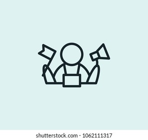 Tour guides icon line isolated on clean background. Tour guides icon concept drawing icon line in modern style. Vector illustration for your web site mobile logo app UI design.