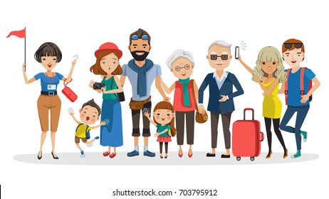 Tour guides and tourist groups big family. Grandfather, grandmother, father, mother, girl, boy, friend, teen and girlfriend at Selfie, carrying a bag, camera, waving and laughing Happy family. Vector