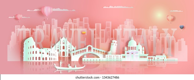 Tour italy famous landmarks architecture Europe by gondola, tourist, Travel cityscape architecture skyscraper downtown background to rome, dvenice with paper art for poster, postcard,Vector illustration.