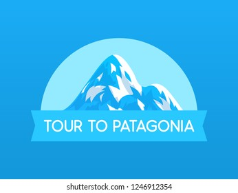 Tour to Patagonia, vector Logo illustration with Mountain of travel in South America in Chile and Peru. Emblem with ribbon and caption.