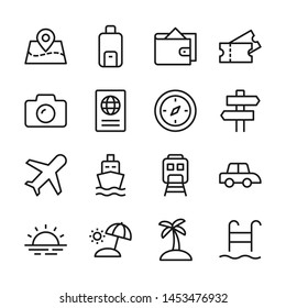 Tour and travel line icons set vector illustration. Contains such icon as ticket, transport, beach, compass, passport, and more. Editable stroke