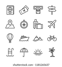 Tour and travel outline icon set vector illustration