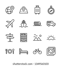 Tour and Travel Vector Line Icons Set. Airplane, Beach, Compass, Destination, Hotel, Transportation and more. Editable Stroke