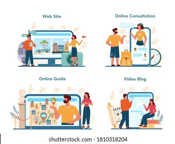 Tour vacation guide online service or platform set. Tourists listening to the history of the city and attractions. Website, online consultation, guide, video blog. Isolated vector illustration