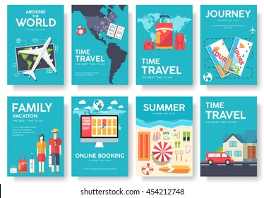 Tour of the world vector brochure set. Travel template of flyear, magazines, posters, book cover, banners. Summer vacation trip infographic concept  background. Layout illustrations modern pages