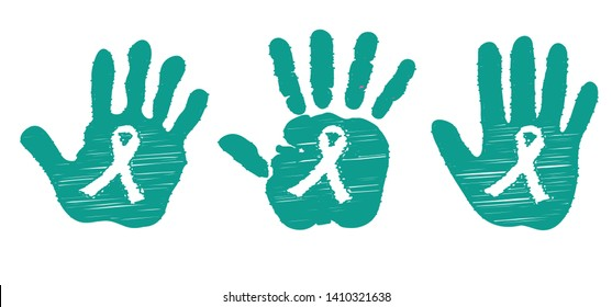 Tourette Syndrome Awareness Green or jade Teal ribbon ribbons  cancer World day Vector icon icons sign signs symbol Emerald symbolic Liver Cancer Hepatitis B disease Medical HVB month PCOS PTSD OCD