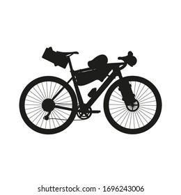 Touring bike vector illustration with saddlebag, frame bag and handlebar bag. Gravel bicycle.