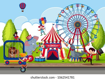 Touring Circus in the Park illustration