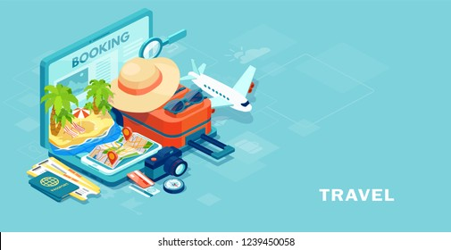 Tourism and booking app concept. Vector of travel equipment and luggage on a mobile laptop touch screen