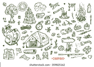 Tourism and camping set. Hand drawn doodle Camping Elements - vector illustration