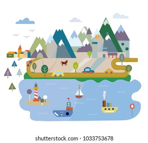 Tourism card with lake and mountains, vector graphic illustration, flat style