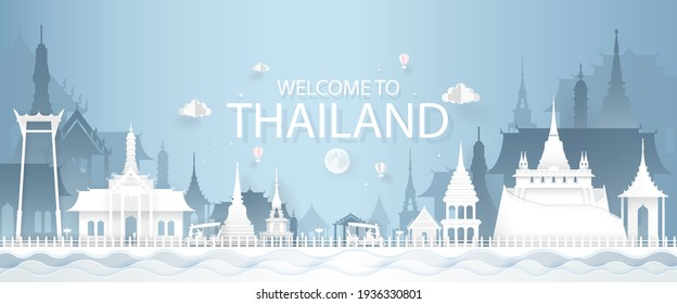 Tourism Concept with Historic Architecture of Thailand Cityscape. Vector Illustration.