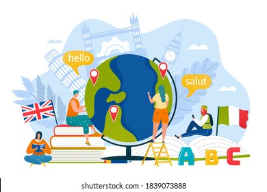Tourism education in online school concept, vector illustration. Speak with translation communication in travel, student people person design. Flat foreign language culture background.