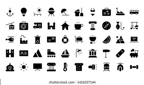 Tourism glyph icon symbol set