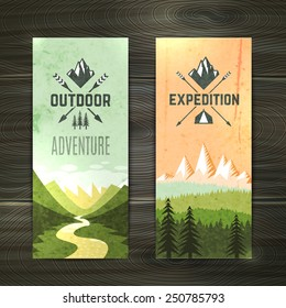 Tourism hiking holidays forest landscape with mountain peaks and two vertical banners set abstract isolated vector illustration