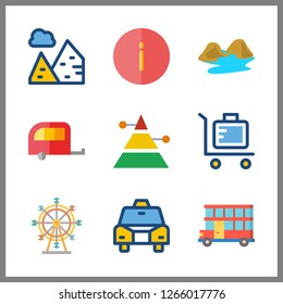 tourism icon. pyramid and ferris whell vector icons in tourism set. Use this illustration for tourism works.