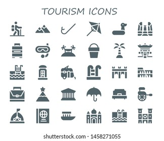 tourism icon set. 30 filled tourism icons.  Collection Of - Hiking, Mountain, Snorkel, Umbrella, Rubber ring, Democracy monument, Baggage, Island, Sand bucket, Pagoda, Swimming pool