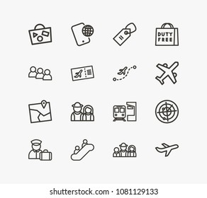 Tourism icon set and couple travel with phone roaming, bag travel and air ticket. Bag related tourism icon vector for web UI logo design.