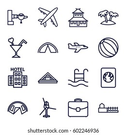 tourism icons set. Set of 16 tourism outline icons such as jetway, Louvre, temple, cocktail, case, palm, swimming pool, avenue, hotel, passport, tent, plane, helicopter