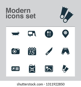 Tourism icons set with airplane ticket, shorts, knife and other caravan elements. Isolated vector illustration tourism icons.