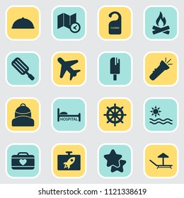 Tourism icons set with ice cream, suitcase female, airplane in the sky and other campfire elements. Isolated vector illustration tourism icons.