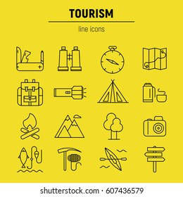 Tourism icons set. Vector flat line illustrations.