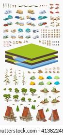 Tourism isometric infographic construction set. Build your own design