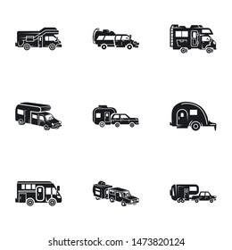 Tourism motorhome icon set. Simple set of 9 tourism motorhome vector icons for web design isolated on white background