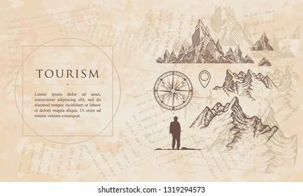 Tourism. Mountains, compass, map pointer, tourist. Renaissance background. Medieval manuscript, engraving art