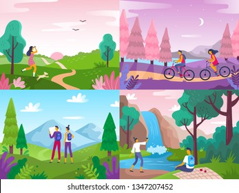 Tourism on nature. Mountaineering travelers, travel explore landscape and traveling sport rest. Hiking adventure, extreme survivalism sports or peaceful nature meditation flat vector illustration