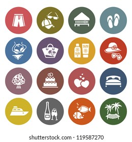 Tourism, Recreation & Vacation, icons set - Retro color version