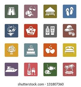 Tourism, Recreation & Vacation, icons set - Retro color version, vector illustration
