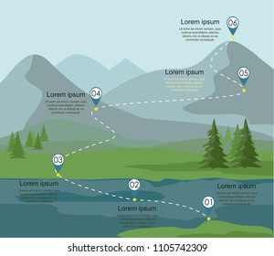 Tourism route infographic. Layers of mountain landscape with fir forest and river. Vector illustration