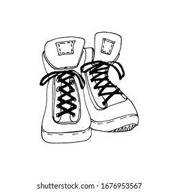 Tourism shoe icon. Shoes for a tourist, athlete, fisherman. doodle style. Use for postcard, poster, banner, web design and print on a t-shirt. Easy to edit. Vector illustration