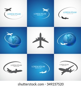tourism symbol with airplane, vector image