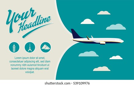 Tourism, Travel Agency banner. Airplane open space with content