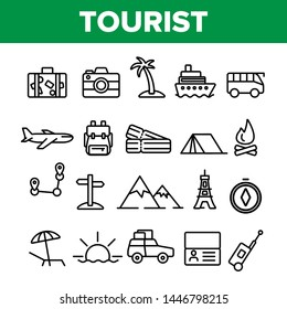 Tourism And Travel Around World Vector Linear Icons Set. Traveling To Different Countries, Islands. Hiking, camping, cruise and road trip outline cliparts. Tourist Adventures Thin Line Illustration