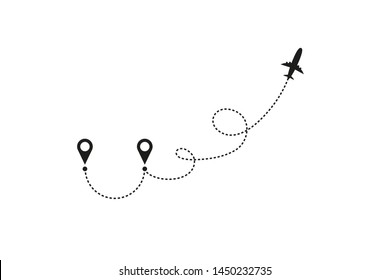 Tourism and travel concept. Airplane line path on white background. Vector icon of air plane flight route with dash line trace, start point and transfer point. Vector illustration