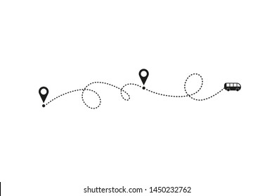 Tourism and travel concept. Bus line path on white background. Vector icon of bus route with dash line trace, start point and transfer point. Vector illustration