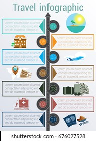 Tourism and travel concept infographic. Template 7 positions. Motorway, passports, visa stamp, compass,  card, point, syringe, medical set, dollars,suitcase, tickets, jet, hotel, island, palm, sea
