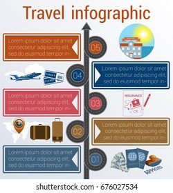 Tourism and travel concept infographic. Template 5 positions. Motorway, passports, visa stamp, compass,  card, point, syringe, medical set, dollars,suitcase, tickets, jet, hotel, island, palm, sea
