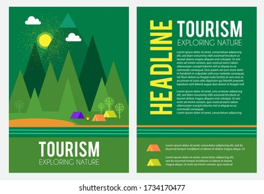 Tourism and travel concept. Tents in forest landscape with mountain. Eco friendly. Wood vacation.