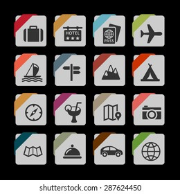 Tourism and travel icon set
