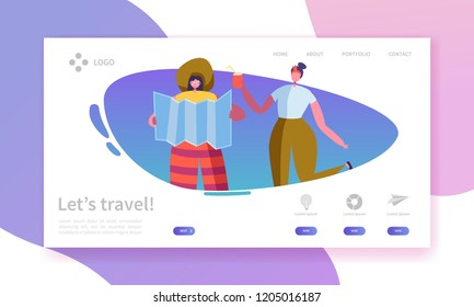 Tourism and Travel Industry Landing Page. Summer Traveling Holiday Vacation with Flat People Characters Website Template. Vector illustration