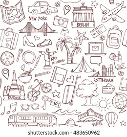 Tourism and travel seamless hand drawn pattern with travel destinations